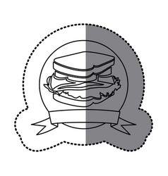 Figure emblem sandwich fast food icon vector