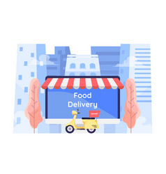 Flat 3d isometric online food ordering system on vector