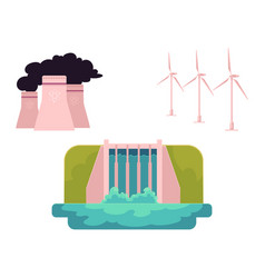 flat all types of energy resources vector image