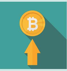 flat icon design of uptrend line arrow - bitcoin vector image