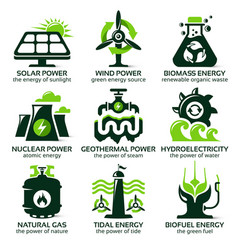Flat icon set for eco friendly alternative energy vector