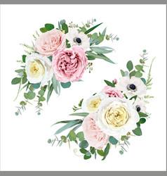 floral bouquet design blush peach mauve greenery vector image
