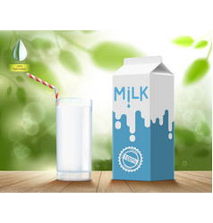 glass milk with a cardboard packaging vector image