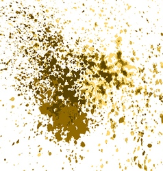gold paint splash splatter and blob shiny on white vector image