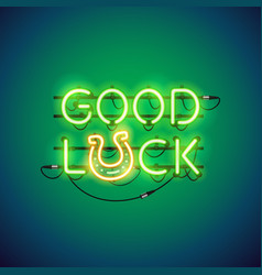 Good luck neon sign vector