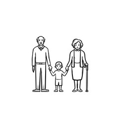 Grandparents and grandson hand drawn sketch icon vector