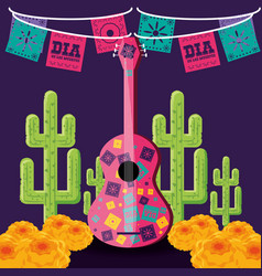 Guitar instrument day of the dead party vector