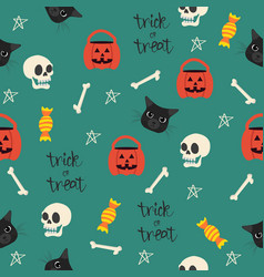 Halloween seamless with head black cat pattern vector