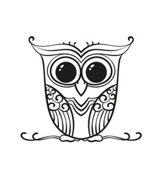 Hand drawn owl for adult and children coloring vector