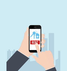 Hand holding smartphone with rent apartments vector
