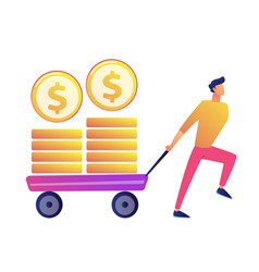 happy businessman pulling cart with golden coins vector image