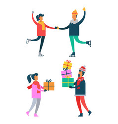 happy couple skating man and woman holds presents vector image