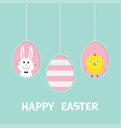 Happy easter text three painting egg shell vector