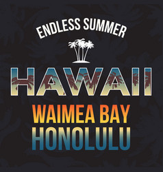 Hawaii beach tee print with palm tree t-shirt vector