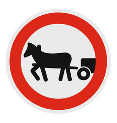 Horse cart is prohibited icon flat style vector