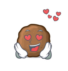 In love meatball mascot cartoon style vector