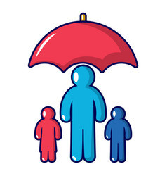 insurance family icon cartoon style vector image