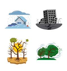 isolated object of natural and disaster icon vector image