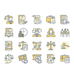 Legal services filled color line icon set vector