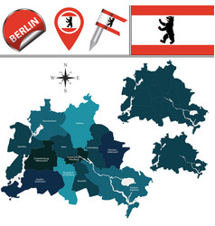 Map berlin with boroughs vector
