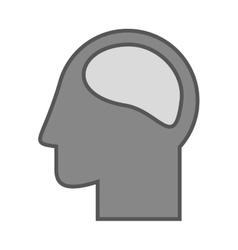 Monochrome Silhouette head and human brain vector