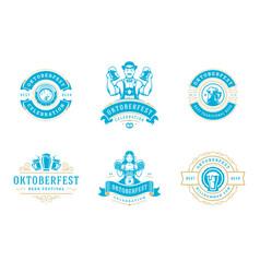oktoberfest badges and labels set vintage vector image