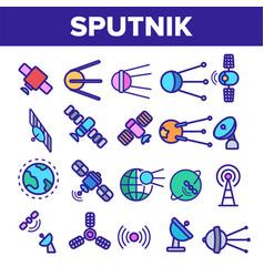 orbital sputnik linear thin icons set vector image