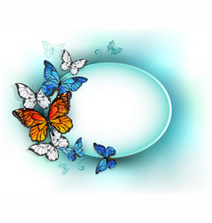 oval banner with summer butterflies vector image