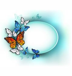 Oval banner with summer butterflies vector