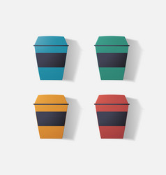 Paper clipped sticker cup coffee vector