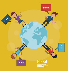 Poster of global people with yellow background of vector