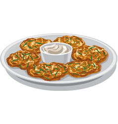 Potato pancakes with sauce vector