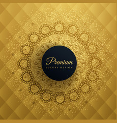premum golden background with mandala decoration vector image