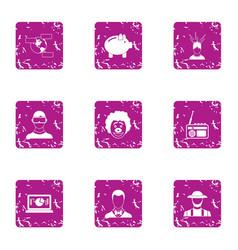 Prosperous company icons set grunge style vector
