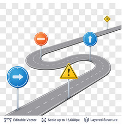 road with traffic signs vector image