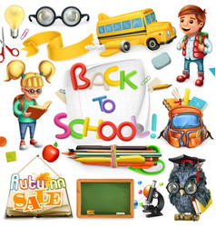 school and education back to 3d icon set vector image