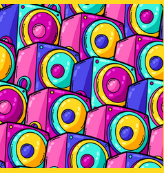 Seamless pattern with cartoon musical subwoofers vector