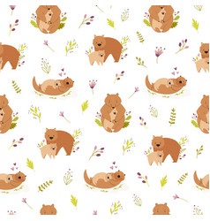 Seamless pattern with cute animals families wombat vector