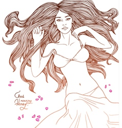 Seductive girl lying in lingerie card good morning vector