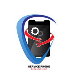 service phone logo vector image