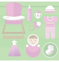 Set baby for girl elements vector