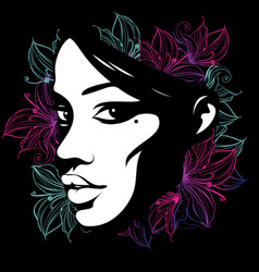 silhouette a female face decorated with flowers vector image