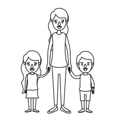 Silhouette caricature full body mother taken hand vector