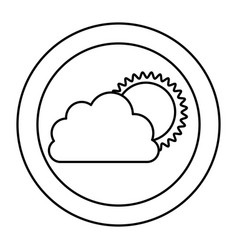 Silhouette cloud with sun icon vector