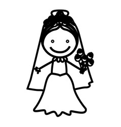 sketch silhouette woman with costume bride icon vector image