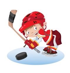 smile boy hockey vector image