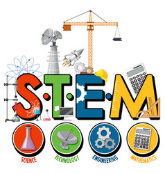 Stem education logo with scientist kid cartoon vector