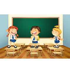 Students and classroom vector image