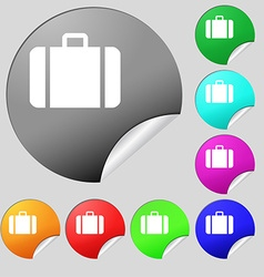 suitcase icon sign Set of eight multi colored vector image