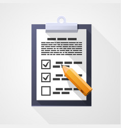 survey flat icon pad document pencil vector image